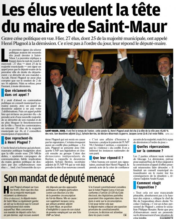Les élus veulent la tête du maire de Saint-Maur - Le Parisien - 18 octobre 2012