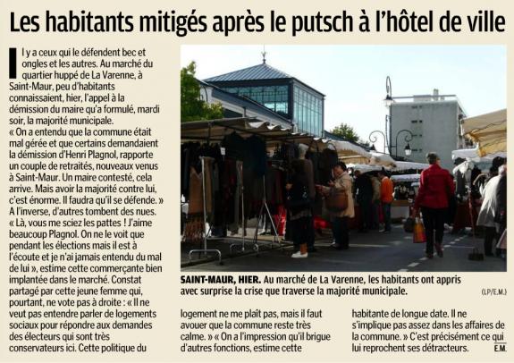 Les Saint-Mauriens mitigés après le putsch de l'Hôtel de Ville - Le Parisien - 19 octobre 2012